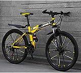 Bicicleta de montaña Bicicletas plegables, 26 pulgadas, 24 velocidades, freno de disco doble, suspensión completa, antideslizante, cuadro de aluminio ligero, horquilla de suspensión, amarillo, bicicl