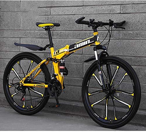 Mnjin Bicicletas Plegables de Bicicleta de montaña, Freno Doble de Disco de 27 Pulgadas y 26 Pulgadas, suspensión Completa Antideslizante, Cuadro de Aluminio Ligero, Horquilla de suspensión