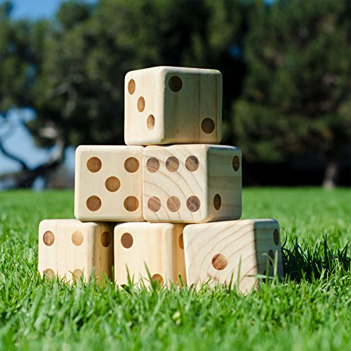 GoSports Giant 3.5' Wooden Playing Dice Set with Bonus Rollzee Scoreboard (Includes 6 Dice, Dry-Erase Scoreboard and Canvas Carrying Bag)