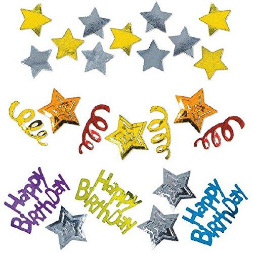 amscan International Confetti Happy Birthday étoiles, Lot de 3