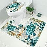 3D Alfombras de Baño Tortuga Verde Juego de Alfombras de Baño de 3 Piezas Antideslizante Franela Secado Rápido Lavables Contour Lid Tapa de WC Alfombra Mat Decoraciones 45x75 cm