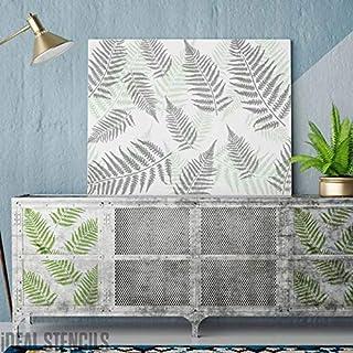 Helecho Hoja Plantilla Tropical Pintura Paredes Muebles, Telas Crear a la Medida Pintado Acabados Decoración