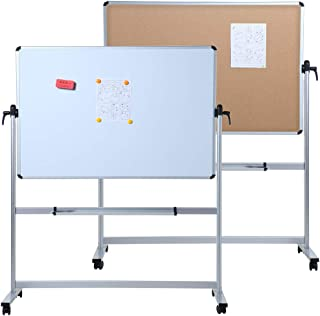 VIZ-PRO Double-Sided Magnetic Mobile Whiteboard & Cork Notice Board Combination, 60 x 48 Inches, Aluminium Frame and Stand