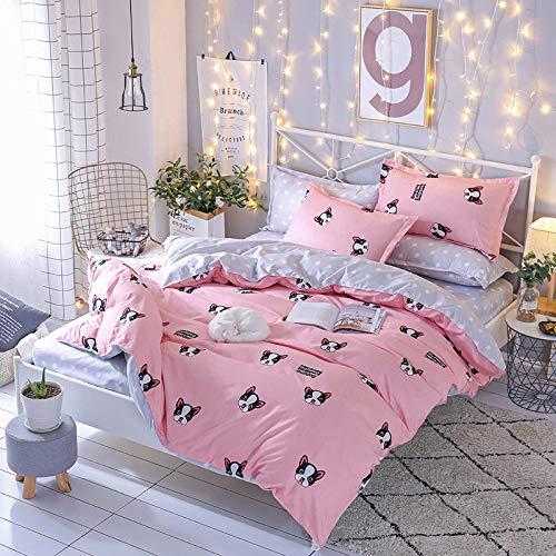 QXbecky Aloe Vera Baumwolle Bett, vier-teilige Matratzenbezug Bettwäsche umweltfreundlich Drucken und Färben 200 × 230 150x200 + 25 niedlichen Hund 3 Fuß