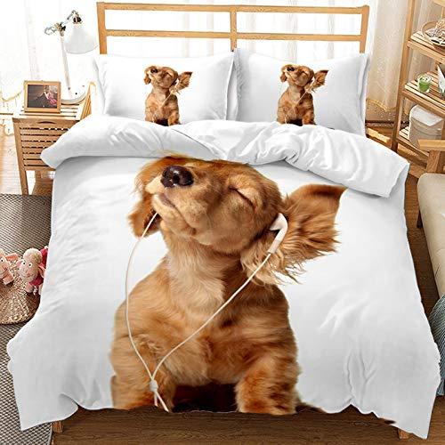 QIAOJIN Juego de ropa de cama 3D de gatos y perros, 100% microfibra, estampado de animales en 3D, bonita funda nórdica y funda de almohada con cremallera, para niños y niñas (240 x 220 cm)