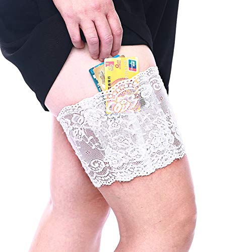 CAREOR Liguero de muslo grueso con encaje antideslizante para mujer con bolsillos de seguridad para teléfono para mujeres y niñas