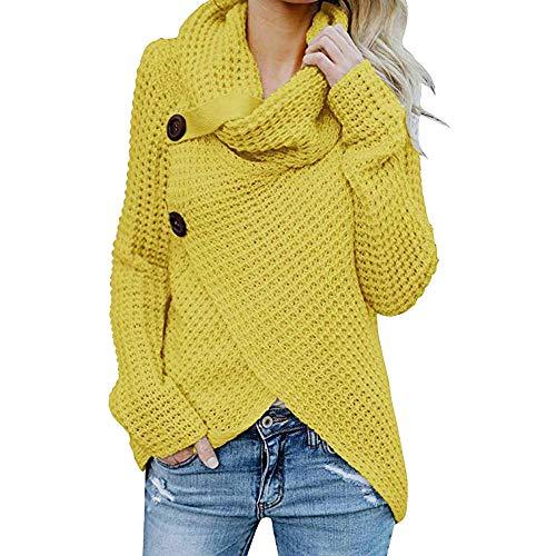 iHENGH Damen Herbst Winter Übergangs Warm Bequem Slim Mantel Lässig Stilvoll Frauen Langarm Solid Sweatshirt Pullover Tops Bluse Shirt (Gelb-1, XL)
