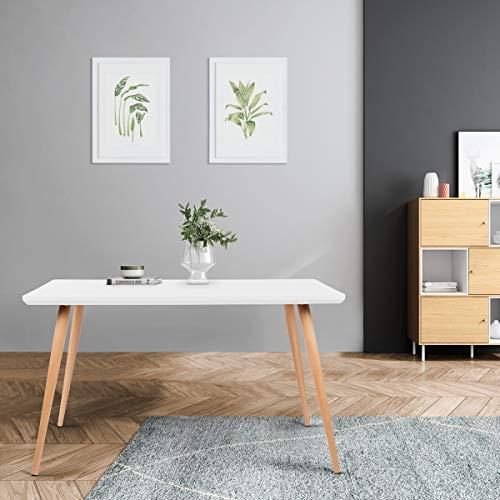 Mc Haus LATT - Mesa Comedor color Blanco de madera MDF diseño Nórdico, Mesa cocina salón Diseño Rectangular funcional de madera Natural 128,5x78,5x75cm