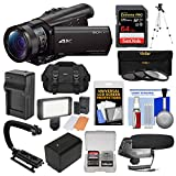 Sony Handycam FDR-AX100 Wi-Fi 4K HD Video Camera Camcorder with 64GB Card + Case + LED Light + Battery + Tripod +...