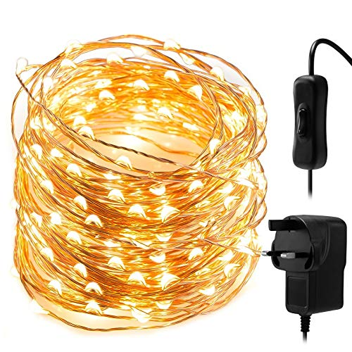 Fairy Lights LED String Lights - 10M 100 LEDs White Copper Wire String Lights Mains Powered, Waterproof Garden Fairy Light Plug in for Party, Wedding, Christmas, Bedroom, Indoor, Outdoor