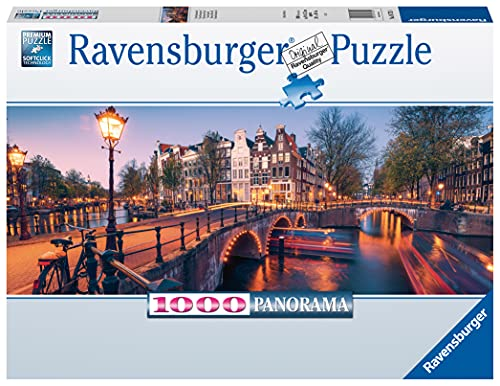 Ravensburger Puzzle 16752 - Abend in Amsterdam - 1000 Teile Puzzle für Erwachsene und Kinder ab 14 Jahren, Puzzle von Amsterdam im Panorama-Format
