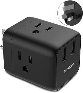 Australia China New Zealand Power Plug Adapter, TESSAN Australian Travel Adaptor with 3 US Outlets 2 USB Ports 3 Prong Grounded for USA to AU Argentina Fiji (Type I)