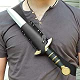 TZH Cinturón De Vaina De Espada De Cuero Medieval para Cosplay, Cinturón De Cintura De Hombro De Espada Vikinga, Soporte De Rana De Espada Corta De Asesino Unisex,Negro