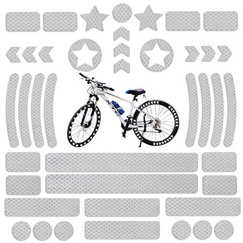 HTTYUAN 42 Stück Reflektierende Aufkleber Reflexfolie Fahrrad Reflektierende Licht Reflektoren Aufkleber Reflektorenaufkleber Set Selbstklebend Reflektor Sticker Für Fahrradhelme, Autos, Motorräder
