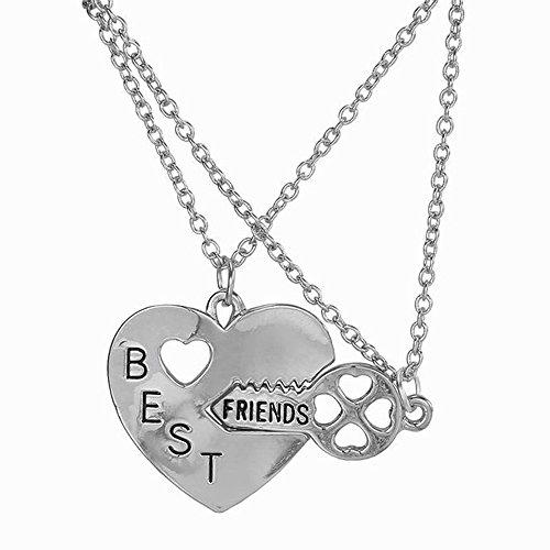Elegant Rose Two Piece Best Friends Forever BFF Silver Heart Key Pendant...