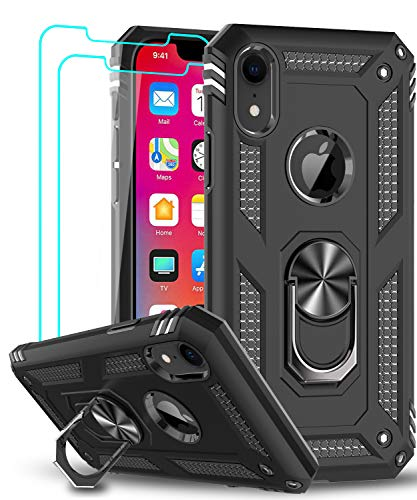 iPhone XR Case with Tempered Glass Screen Protector [2 Pack] for Women Men Teens, LeYi [Military Grade] Defender Protective Phone Case with Magnetic Ring Kickstand for Apple iPhone XR 10 10 XR, Black