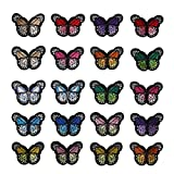 SUMAJU Parches bordados de 20 piezas, parches bordados de mariposa, parches para coser o planchar, para bricolaje, chaquetas, camisetas, zapatos, artes y manualidades