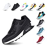Zapatillas de Running para Hombre Mujer Ligero Correr Air Atléticos Sneakers Comodos Fitness Deportes Calzado NegroBlanco 46