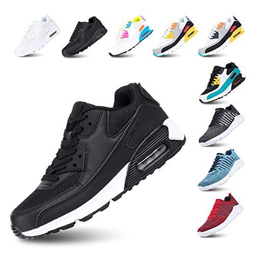 Sportschoenen Heren Sneakers Dames Hardloopschoenen Licht Fitness Wandelen Vetersluiting Luchtkussen Sneakers Gewoontjes E-Zwart wit 44