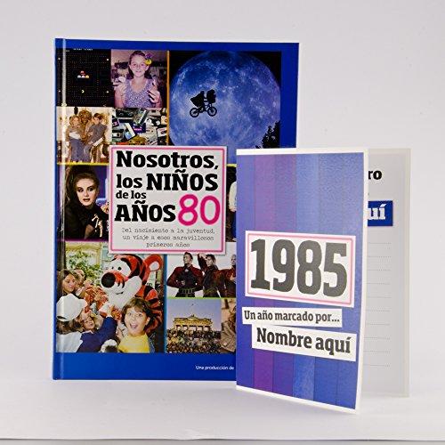 Calledelregalo Libro de tu año de Nacimiento, Libro de la década de los 80 con Tarjeta Personalizada - Regalo para cumpleaños - Otras Edades Disponibles