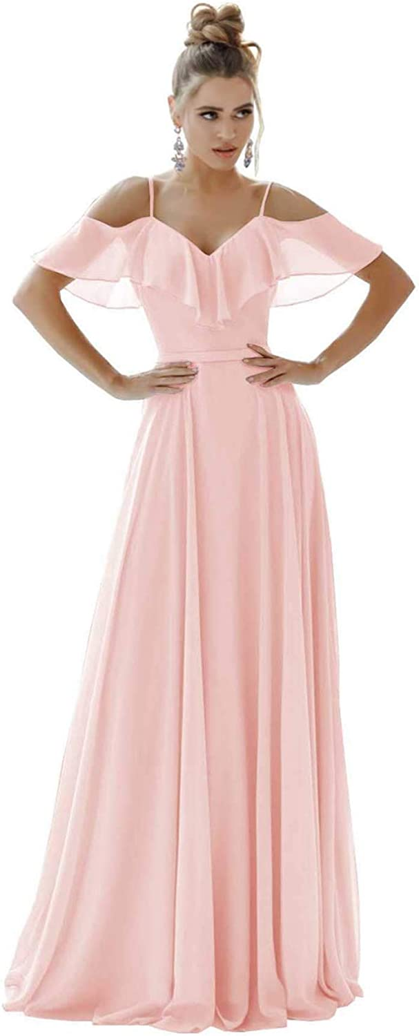 Women's Chiffon A Line Bridesmaid Dresses Long V Neck Spaghetti Strap Wedding Guest Dress with Sleeves