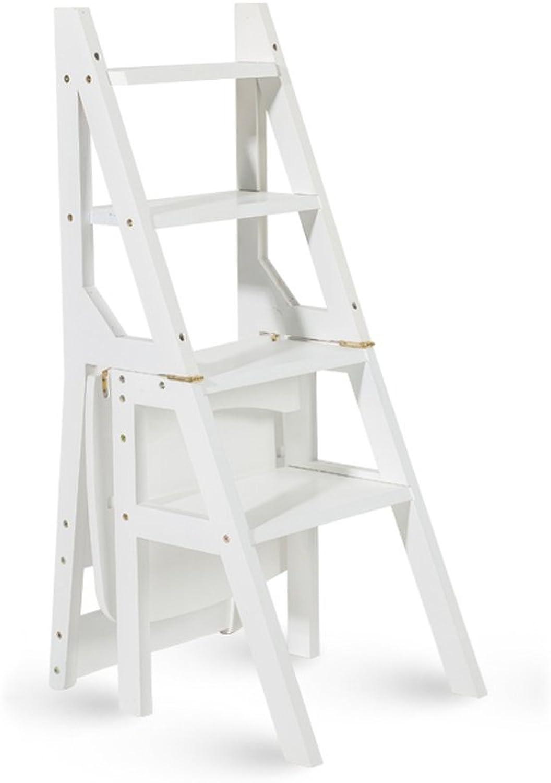 XUE Multifunktionale Leiter Stuhl Massivholz Haus Im Freien Beweglicher Anhebender Schemel Doppelzweck Faltender Treppenstuhl 4 Tritt Leiter A ++ (Farbe   Wei)