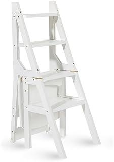 Escalera Multifuncional de Madera Maciza Silla Cocina de hogar Escaleras Plegables de Doble Uso Silla movible Escalera Ascendente de 4 Pasos (Color : Blanco)