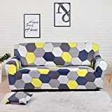 WXQY Funda de sofá elástica Estampada Funda de sofá con patrón geométrico Funda de sofá de Esquina Funda de Chaise Longue Funda de sofá Antideslizante A8 3 plazas