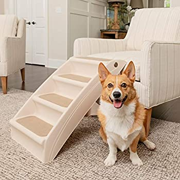 PetSafe Solvit PupStep Plus Pet Stairs Foldable Steps for Dogs and Cats Best for Small to Medium Pets