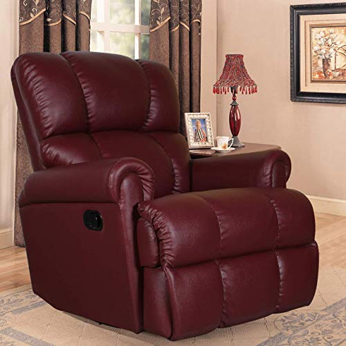 Alcanes Recliner, Ultra Comfortable and Durable Ergonomic Single Seat Reclining Sofa, Living Room Recliner Chair with Thickened Padded Arm/Back, Leatherette, Maroon Color