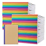 48 Pack Composition Notebook Journal- Kraft Cover with Rainbow Spines, Multi-Color Bright Linen Tape Bound Binding- Lined Paper- small size 8 in by 5.75 in- notes, travel, office, home and school