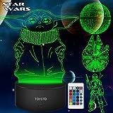 Star Wars 3D LED Luz de noche, Lámpara de ilusión Cuatro tipos y 16 colores Lámpara de decoración Cambio - Regalo perfectos para niño