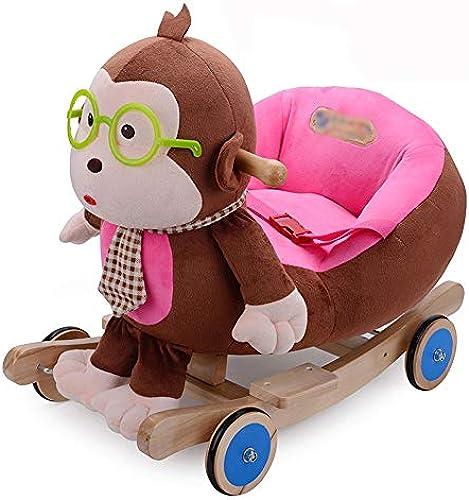 Byx- Baby Schaukelpferd - Trojan Horse Schaukelstuhl Kinder Dual-Use-Cartoon Brille Brille AFFE Kinder Geburtstag Geburtstagsgeschenk - Baby Schaukelpferd