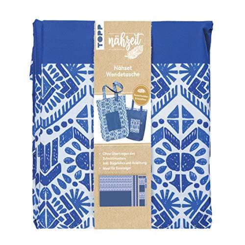 Nähzeit Nähset Wendetasche Blau/ Weiß: Stoff im Ethno-Design in Blau/ Weiß mit integriertem Schnittmuster 150 x 80 cm (100% Baumwolle), Bügelvlies und ... Fertige Tasche ca. 40 x 36 cm (ohne Träger)