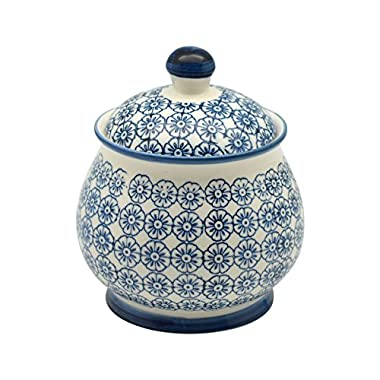 Patterned Sugar Bowl / Pot with Lid - Blue Flower