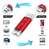 BorlterClamp 64GB Type C USB 3.0 Dual Port Flash Drive USB C OTG Memory Stick for Android Smartphones Samsung Galaxy S9/S8/Note9, LG, Tablets & Computer (Red)
