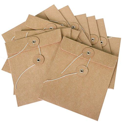 TRIXES 10er Pack CD-Umschlaghüllen aus braunem Karton Kraftpapier Ideal als Hüllen und Verpackung für CDs DVDs Blu Rays Zubehör etc