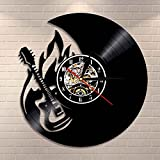 Rock and Roll - Reloj de pared para guitarra y fuego, decoración del hogar, grabador de vinilo, banda de rock, ventilador de música, guitarra, regalo