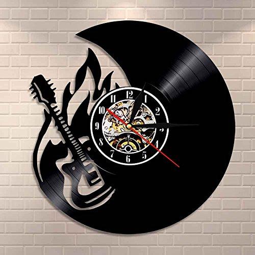 wtnhz LED-Rock Fire Guitarra Reloj de Pared decoración del hogar Llama Guitarra Reloj de Disco de Vinilo Banda de Rock Fan de la música Guitarrista Ideas para Regalos