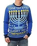 Ugly Christmas Sweater Men's Light My Menorah Light Up Pullover Sweatshirt-Large Ocean Blue