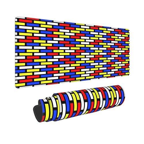 Extra Groß Mauspad mit Genähten Kanten,XXL-90 x 40 x 0.3cm,Blaues Backstein-Wandmuster in den Primärfarben buntes deko,Schreibtisch Mat Personalisiert für Die Arbeit Spiel Büro Computer Laptop
