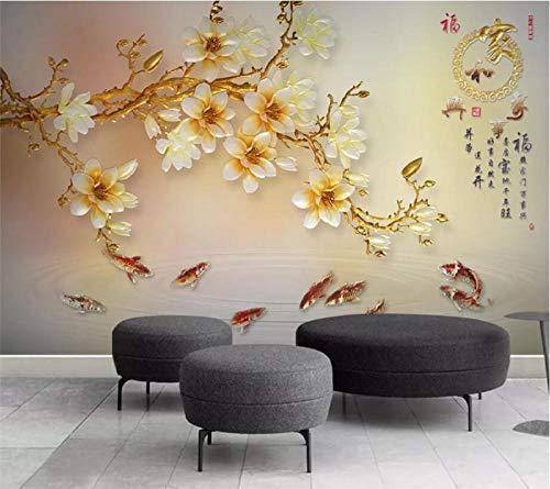 Benutzerdefinierte Tapete 3D Wandfarbe Geschnitzte Magnolie Wohnzimmer Tv Hintergrund Wandkunst Glas Wandtapete,400 * 280Cm