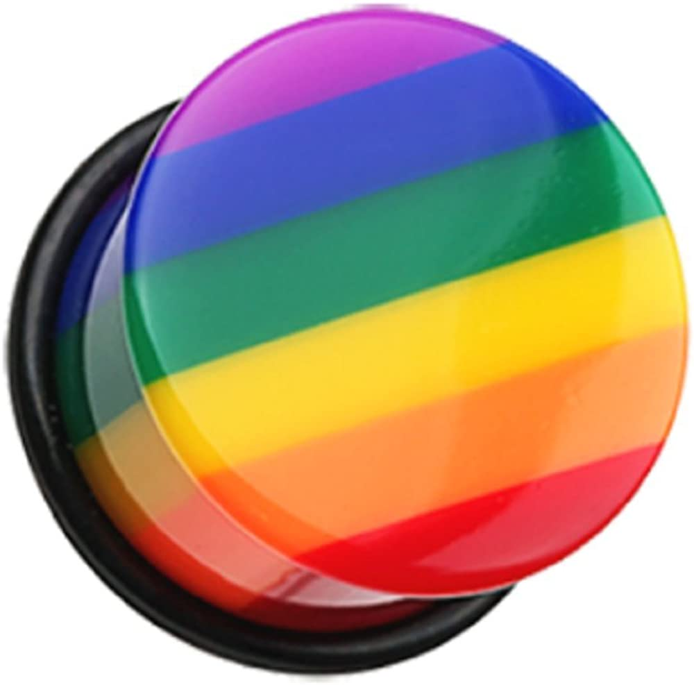 Freedom Popular Max 40% OFF shop is the lowest price challenge Fashion Rainbow Stripe Single Sol Flared Ear Plug Gauge