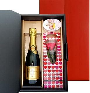 〔お中元・夏ギフト〕お祝い 結婚祝い 結婚記念日 誕生日【ワインとお花のギフトセット(スイーツ付き)】フランス産 スパークリングワイン ジャイアンス「キュヴェ・トラディション」375ml/プリザーブドフラワー バラ/キャンディー ギフトラッピング【ギフト】贈答用 贈り物 プレゼント