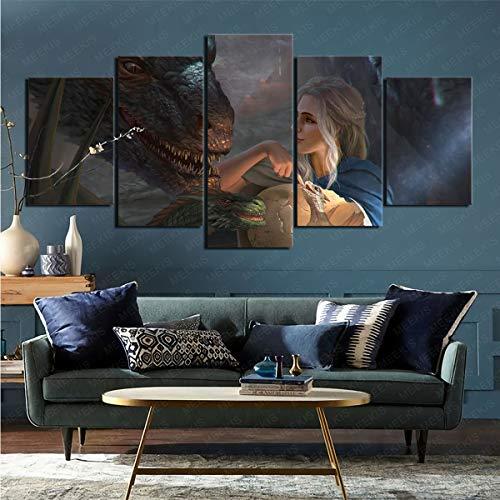 mmkow Lienzo de artista plano, 5 piezas, juego de Tronos, decoración del hogar, 80 x 150 cm (enmarcado)