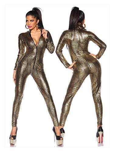 TL TONGLING Traje de Cosplay Sexy lencería látex PVC Vestido Mono Mono Mujer Negro Catsuit Polo Ropa de Baile Club de Noche Body (Color : Oro, Size : M)