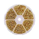 Anillas Abiertas 1390 Piezas Anillas de Metal Anillo de Salto Abierto para Collares de Conexión Fabricación de Joyas de Bricolaje 4 mm a 10 mm 6 Tamaños Oro