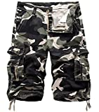 Fanient Pantalon Cargo en sergé pour Hommes, Multi-Poches, Pantalon de Travail en Plein air Une armée Peu Profonde