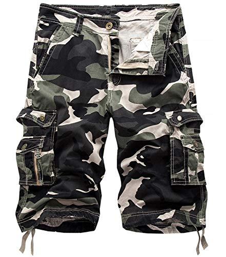 Fanient Shorts Herren Trainingshose Sommer Kurze Hosen Atmungsaktiv Laufshorts Running Gym Sporthose mit Multi Taschen Flache Armee