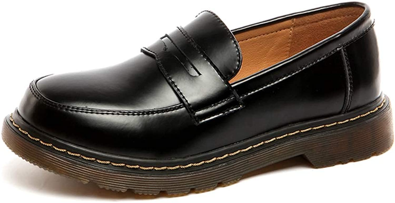 Fay Waters Women's Leather Penny Loafer Retro British Oxford shoes Slip On Casual Flats shoes